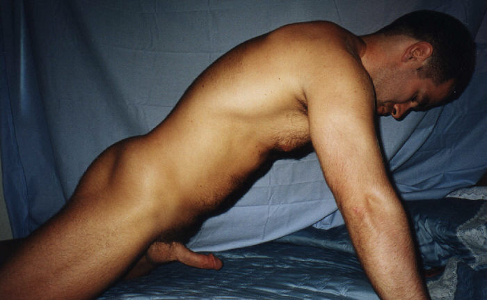 A Nice Curved Cock On This Muscular Man!