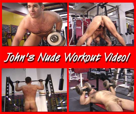 A Sexy Muscular Man Lifting Weights NUDE In A Commercial Gym!